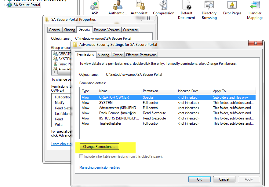 IIS Secure Portal Change Permissions