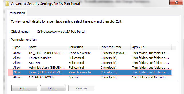 IIS Secure Portal Permissions Windows