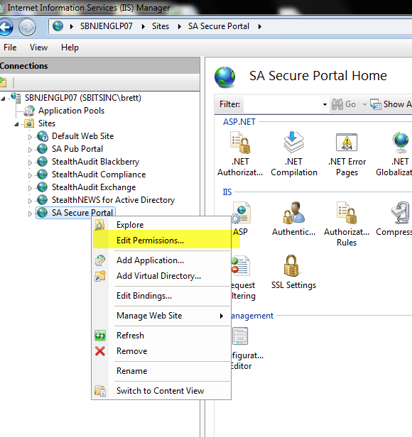 IIS Secure Portal Permission