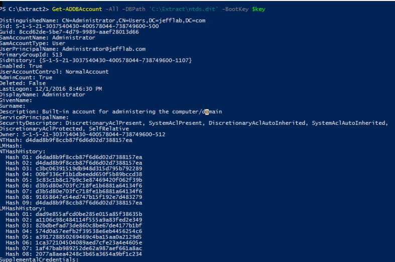 Retrieving account information from the Ntds.dit file using Get_ADDBAccount command, including NTLM hash.