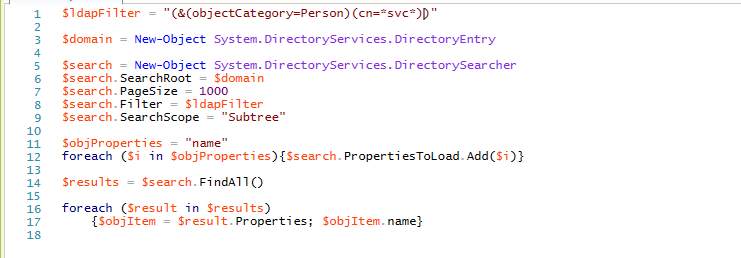 Using a PowerShell script with the LDAP filter to find service accounts with the naming convention that contains svc