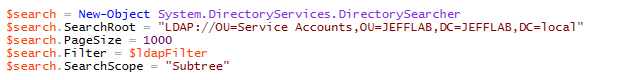 Search members of an OU with PowerShell to find service accounts