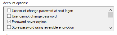 Analyze user account control settings like password never expires to find service accounts
