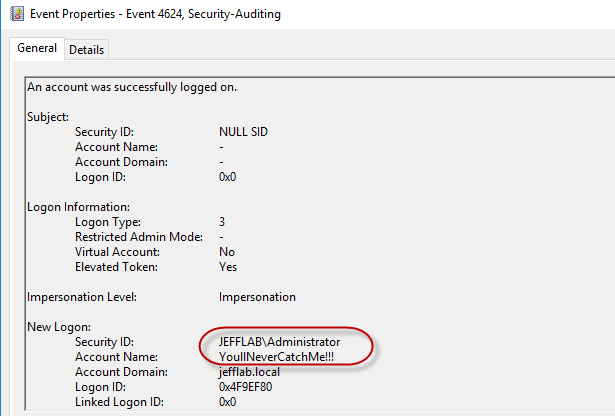 Logon event 4624 shows the golden ticket account data with the SID as administrator due to RID spoofing and the fake user account name