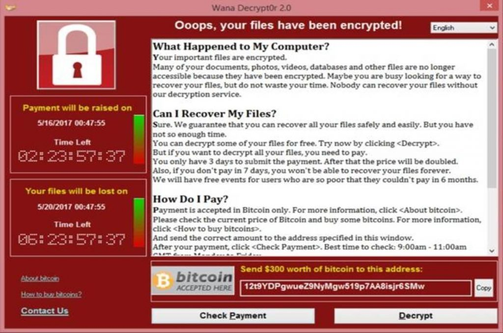 Wannacry ransomware demands for bitcoin payment