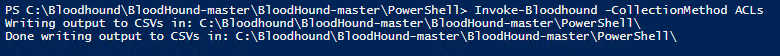 Using the Invoke-Bloodhound -CollectionMethod ACLs PowerShell command to create a CSV export of Active Directory permissions to import into BloodHound