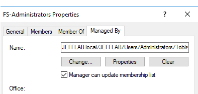 Active Directory Managed-by attribute in AD Security Group Manager with 'Manager can update membership list' setting