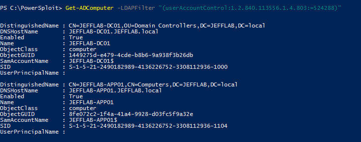 Using PowerShell command Get-ADComputer to return all computers with unconstrained delegation