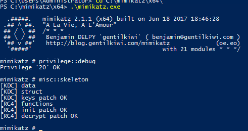 Injecting a skeleton key using the misc::skeleton into a domain controller with Mimikatz