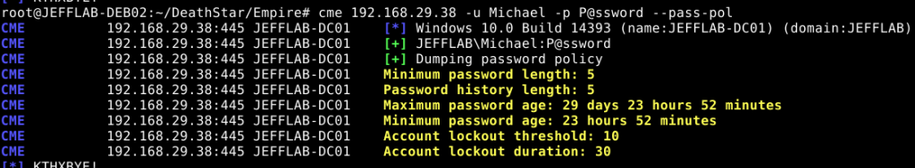 Use CrackMapExec (CME) to target a domain controller with pass-pol to see the domain's password policy and Active Directory lockout settings