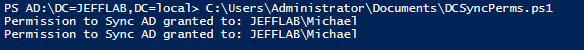 Output of PowerShell script showing which users have rights to perform DCSync attack against domain
