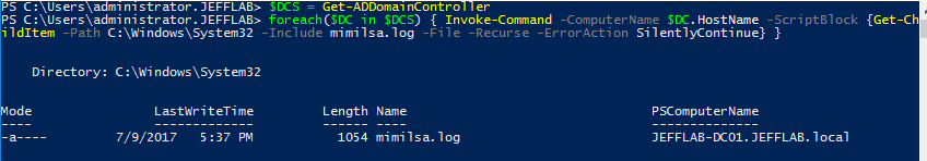 PowerShell script to check for the existence of the mimilsa.log file that would indicate infection my injected SSP