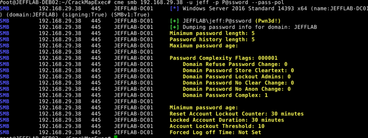 Enumerating Active Directory password policy with CrackMapExec and –pass-pol