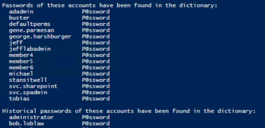 Viewing weak passwords with DSInternals and Test-PasswordQuality