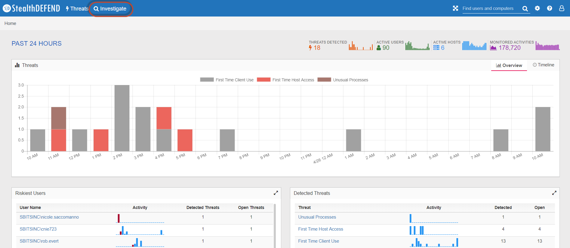 StealthDEFEND 1.1, StealthDEFEND 1.1 Investigate, Threat Analytics, Investigate Threats