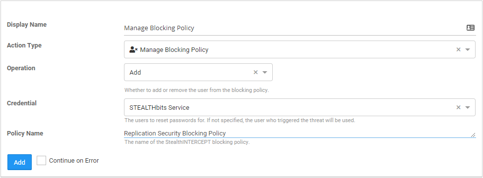 StealthINTERCEPT Blocking policies