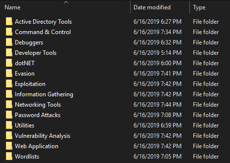 Categories of tools pre-installed with Commando VM