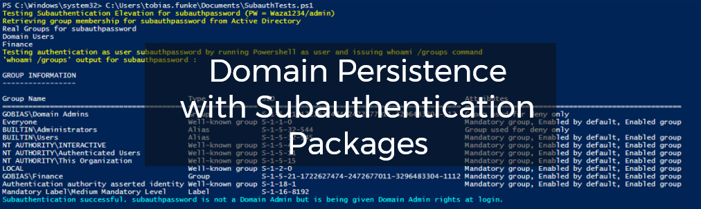 What are Subauthentication Packages? | Domain Persistence