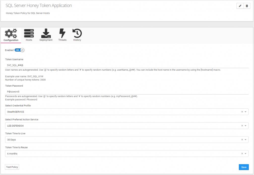 "StealthDEFEND ""Honey Token Configuration"" Page"