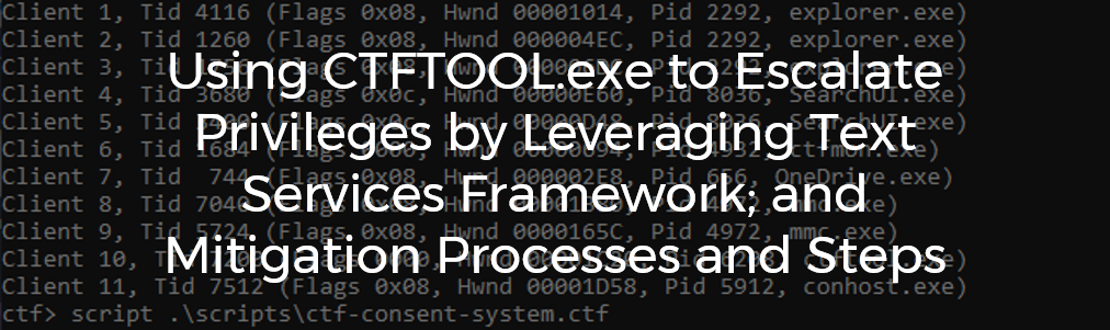 Using CTFTOOL exe to escalate privileges by leveraging Text