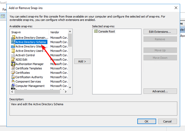 Add the Active Directory Schema snap-in to the Management Console