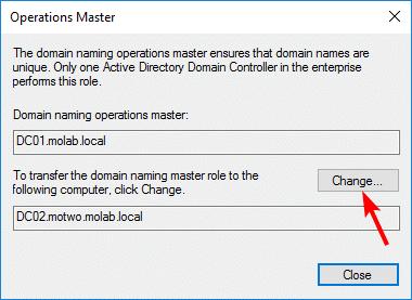 Change Domain Naming Master role