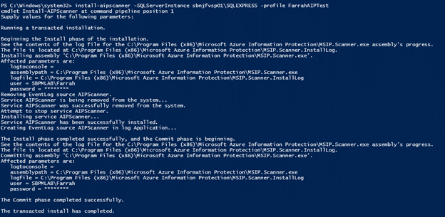 Figure 3: Install-AIPScanner in Powershell
