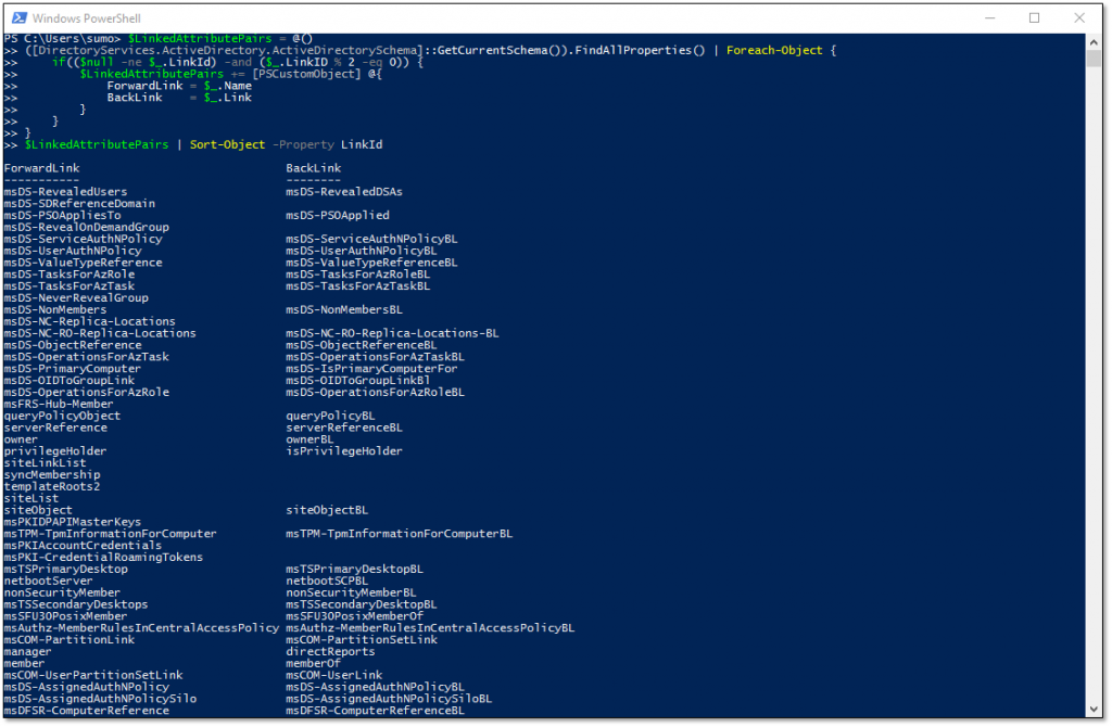 Using PowerShell to retrieve Active Directory linked attribute pairs