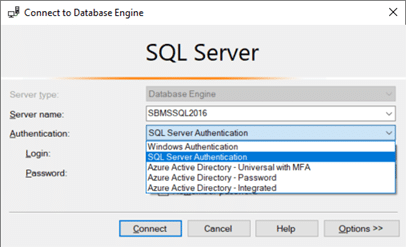 Figure 1. Microsoft SQL Server Login Screen