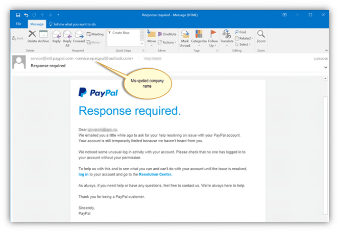 Phishing Example: Spelling errors