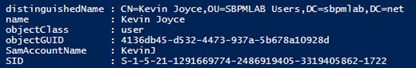Results of PowerShell to enumerate Domain Admins group membership