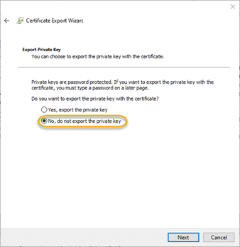No, do not export the private key