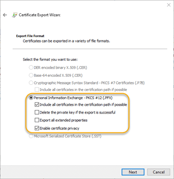 Default export option