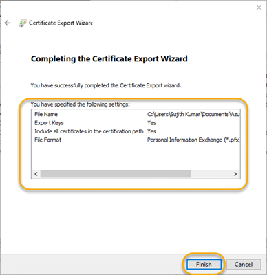 Finish to export the certificate