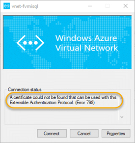 Error 798 – A certificate could not be found that can be used with this Extensible Authentication Protocol