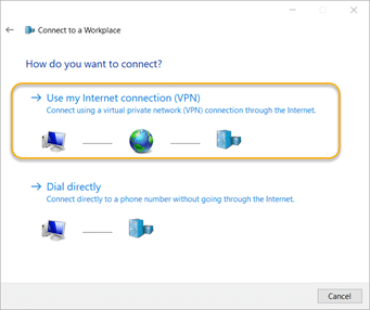 Use my Internet connection (VPN)