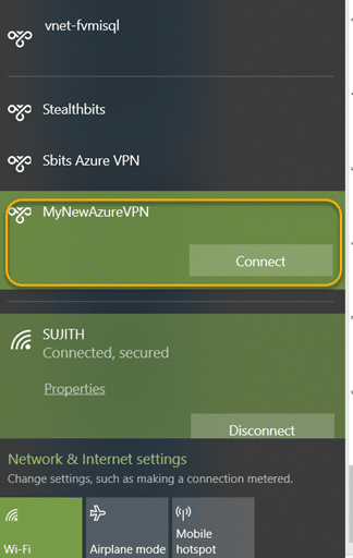 Azure VPN connection