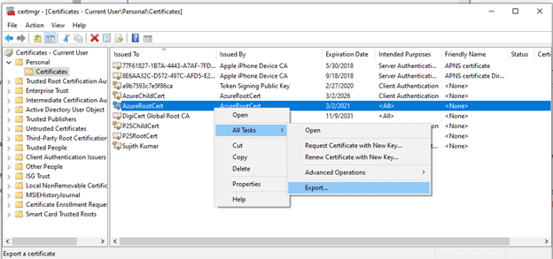 Export the public key portion of the root certificate