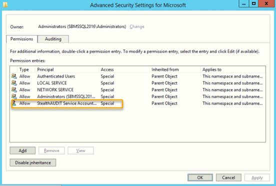 Advanced Security Settings for Microsoft
